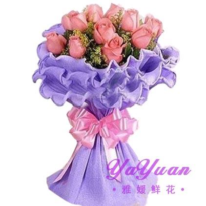 精品粉玫瑰11支,配草丰满 包 装: 淡紫色卷边纸